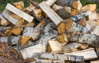 Chopped birch fire wood background
