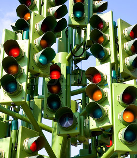 Confused Traffic Signals At A Busy Intersection