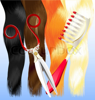 on a blue background are a red, black, brown, blonde hair and large comb and scissors
