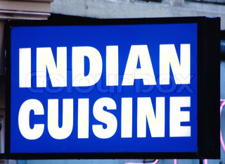 Sign Outside An Indian Restaurant