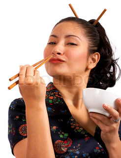 Japanese Cute Girl Eating With Chop Sticks