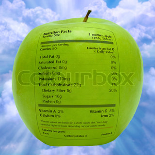 Nutritious Apple With Health Facts Label