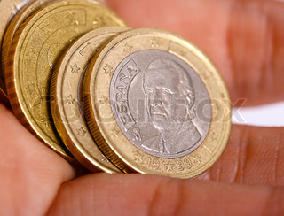 Handful Of Spanish Euro Coins For Making A Payment
