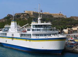 Ferry in harbor of Gozo island, Malta