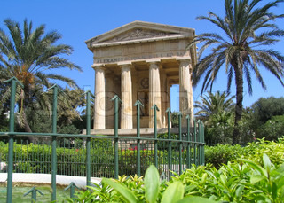 Ancient building in the park of Valetta, Malta island