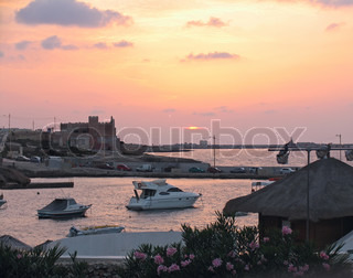 Pink sunset on Malta