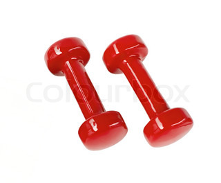 Two red fitness dumbbells isolated on white (clipping path included)