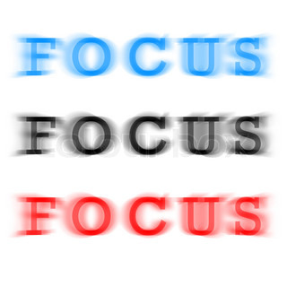 The word focus in three different color variations with a blur effect