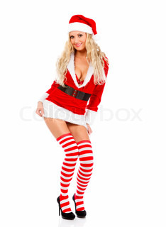 Beautiful and sexy woman wearing Santa Clause costume, isolated on white background