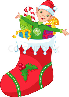 Vector Illustration Of Cute Cartoon And Happy Looking Christmas Elf