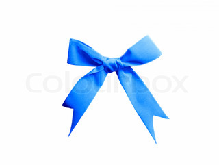 single satin blue bow isolated on white background for site