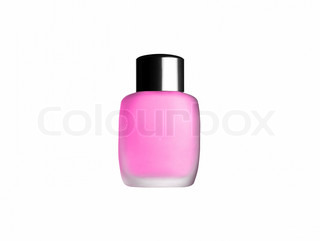 pink toilet bottle isolated on white background