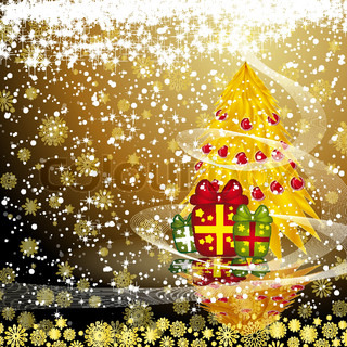 Fairy golden christmas tree with gifts on a dark snow background Vector eps10 illustration