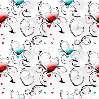 seamless background with abstract patterns and hearts