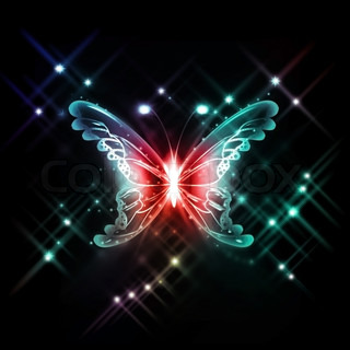 abstract glowing butterfly on a dark background
