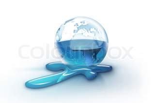 transparent planet with flowing water, isolated on a white background