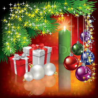 Abstract Christmas greeting with gifts and candle