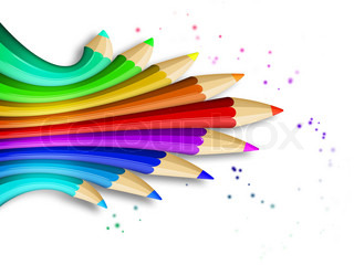 creative template with coloured pencils - art concept illustration