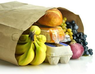 papirpose med dagligvarer