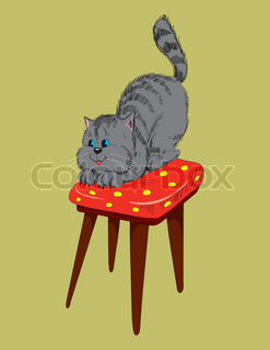Cheerful gray cat on a chair