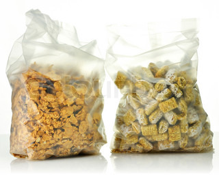 Shredded Wheat Cereal and bran and raisin cereal in the bags