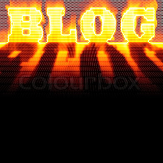 The word BLOG formed out of binary code and burning in flames while isolated over a black background