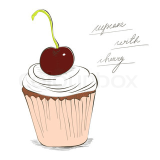 Illustration of cupcake with cherry