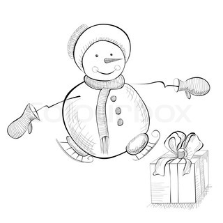 Christmas with snowman, monochrome illustration
