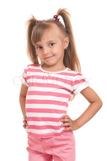 Portrait of a pretty little girl on white background
