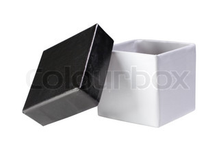 Open black and white gift box (isolated on white)
