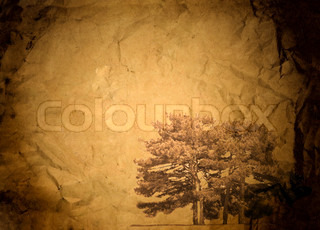 Old crumpled paper with dark edges and a tree in the corner