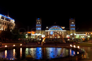 Night view of terminal South Station Kharkov - city of EURO-2012, Ukraine