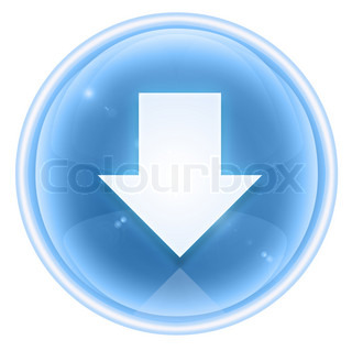 Arrow down icon ice, isolated on white background