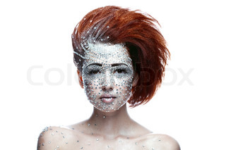 beauty woman in futuristic makeup isolated over white background