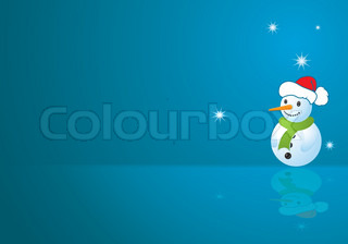 Christmas background with snowman, element for design, vector illustration