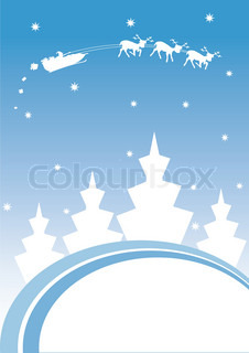 Christmas greeting card with Santa's sledge and abstract fir-trees Vector illustration