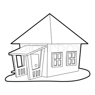 Bungalow Icon Outline Style