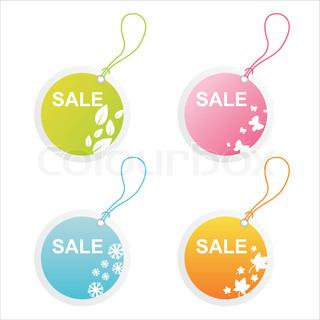 set of 4 seasonal sale tags