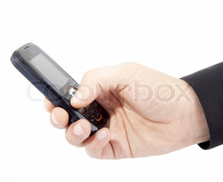 businessmen holds mobile phone isolated on white