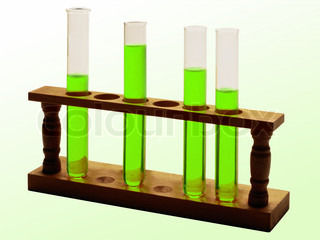 test tubes with green liquid isolated on white