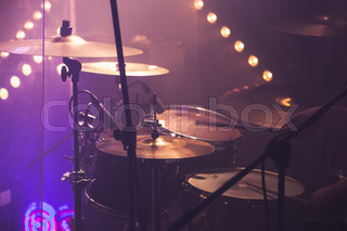 Empty Stage With Drum Set Before Concert Stock Photo Colourbox