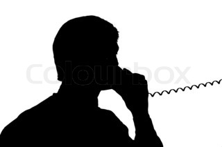 black silhouette man talk to phone on white background