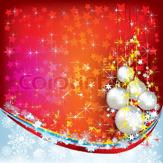 Abstract Christmas greeting with pearl decorations on red