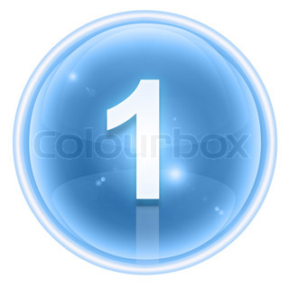 Number one icon ice, isolated on white background
