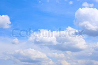 Blue sky and fluffy clouds, may be used as background
