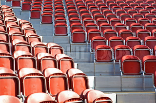 Empty stadium seats before a game