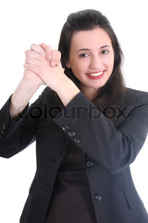 Successful business woman in black suit over white