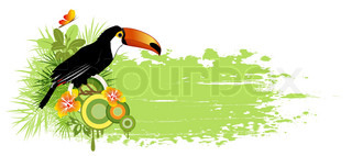 summer banner with tropical bird, palms and grunge effect