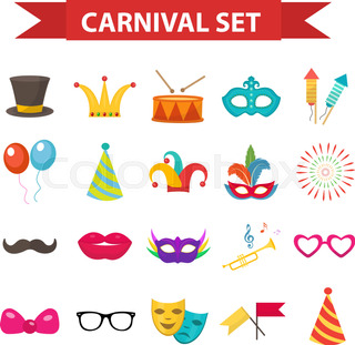 Party Icons Design Element Flat Style Carnival Accessories Props Isolated On