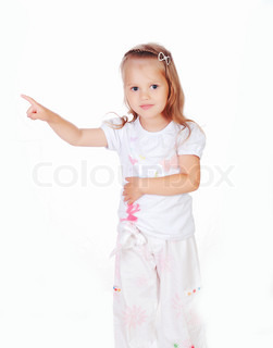The little girl on a white background and pointing in the direction